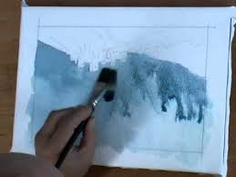 how to paint a stormy atmospheric sky in watercolors youtube