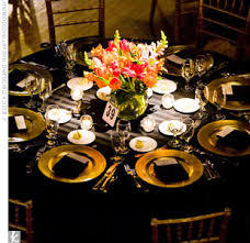 black and gold table decorations