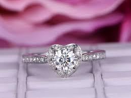 heart shaped wedding rings 6 5mm moissanite engagement ring diamond in 14k white gold