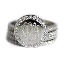 monogram ring silver sterling silver cz rimmed monogram stacking ring be monogrammed