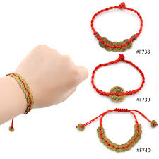 red string bracelet with charm images Chinese feng shui red string wealth bless lucky coin charm jpg