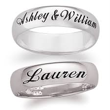 wedding rings with names 219 99 14k white gold engraved ring wedding