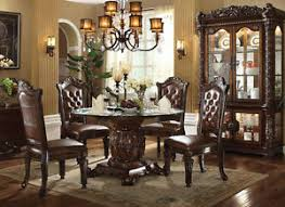 traditional round glass dining table new 5pc ellery traditional cherry finish wood round glass dining