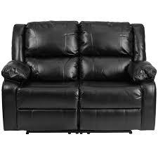 Black Leather Reclining Loveseat Harmony Series Black Leather Loveseat With Two Built In Recliners