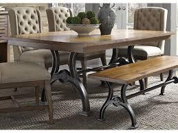 liberty furniture arlington trestle table with metal base