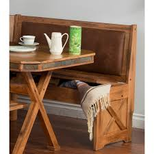 custom rustic breakfast nook set with storage bench under seat