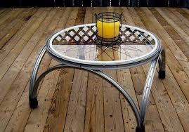 unique coffee table made from old bicycle rims home design