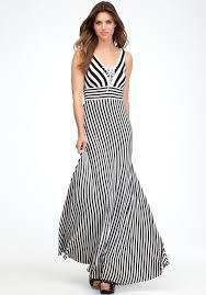 bebe tie front stripe maxi dress in black lyst