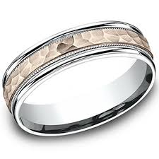 mens hammered wedding bands benchmark 6mm comfort fit two tone hammered wedding ring