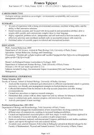 Objective Of Resume Examples by Cv Sample For An Ecologist Environmentalist Susan Ireland Resumes
