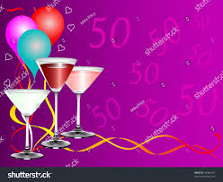 fiftieth birthday party background template drinks stock vector