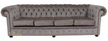 Grey Velvet Sofas Chesterfield 4 Seater Settee Perla Illusions Grey Velvet Fabric
