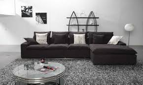 Round Sofa Chair Living Room Furniture Furniture Brown Leather Deep Sectional Sofa With Chaise Placed On
