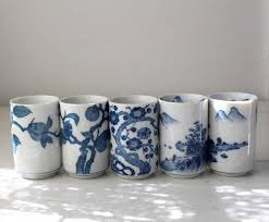 vintage japanese tea cups set of 5 blue and white pretty