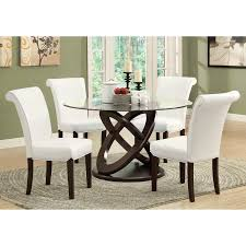 Espresso Dining Room Furniture Monarch Olympic Ring Dark Espresso Glass Top Round Dining Table