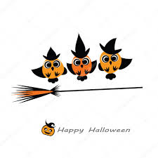 halloween vector illustration owl witches in hats flying on