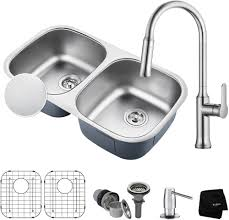 kraus kbu22e163042ch 32 inch double bowl kitchen sink and faucet