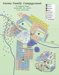 Pennsylvania Attractions Map by Farma Family Campground U0026 Cabins Site Map U0026 Rules