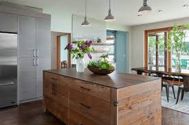 cool kitchen islands cool kitchen island wrapped in wood and movable