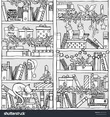 bookshelf sleeping cat book titles stock vector 349749170