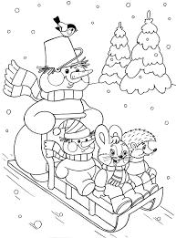 kleurplaat op de slee voor kleuters thema winter kleurplaten