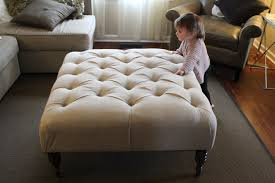 Grey Tufted Ottoman Furniture Oversized Fabric Ottoman Coffee Table Living Room