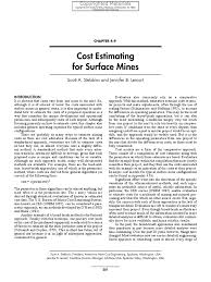 cost estimating for surface mines coal mining mining