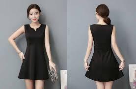 dress pesta dress pesta warna hitam lengan buntung myrosefashion
