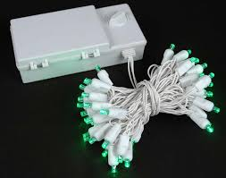 50 led battery operated christmas lights green on white wire