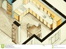 isometric floor plan isometric partial architectural watercolor drawing of apartment