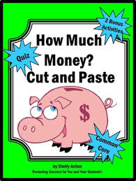money worksheets cut and paste dollars and cents 2nd grade math