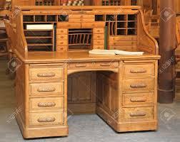 vintage wood desk vintage style secretary wooden desk with rolltop stock photo