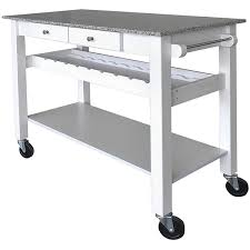 sonoma white kitchen island cart w pebble granite top