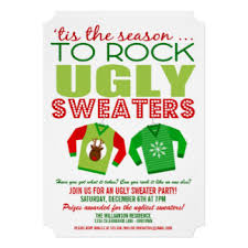 ugly christmas sweater invitations u0026 announcements zazzle