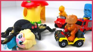 dinosaurs fireman sam cars trucks rescue elsa attacked