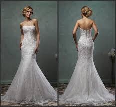 Cheap Online Wedding Dresses Exquisite 2016 Amelia Sposa Lace Trumpet Wedding Dresses Strapless