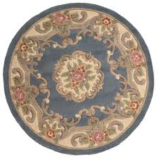 Chinese Aubusson Rugs 4ft Circular Pure Wool Chinese Handcrafted Aubusson Rugs In Blue