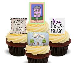 first home new house edible cupcake toppers stand up wafer