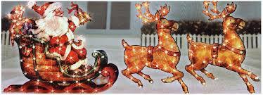 lighted reindeer outdoor christmas decorations santa and reindeer christmas2017