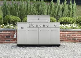 Backyard Gas Grill Reviews by Kenmore 6 Burner Stainless Steel Front Gas Grill With Smoker