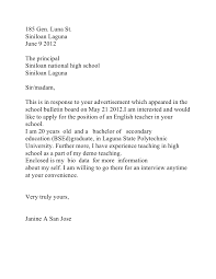 application letter format philippines application letter for high school teacher in the philippines