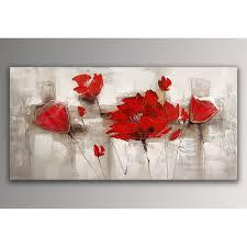 toile de cuisine coquelicots rouges tableau floral modern peint à la sur toile