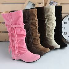 womens boots for flat fashion jackboots mid calf boots leisure knee high suede