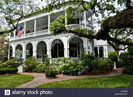 white colonial home in charleston south carolina stock photo