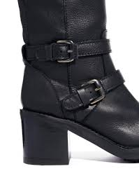 heeled biker boots mango knee high biker boots in black lyst