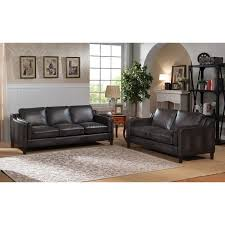 Sofa And Loveseat Leather Ames Premium Hand Rubbed Grey Top Grain Leather Sofa And Loveseat