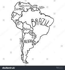 Blank Map South America by Cartoon Map South America Stock Vector 371521012 Shutterstock
