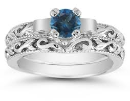 1 2 carat art deco london blue topaz bridal ring set 14k white gold