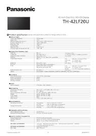 download free pdf for panasonic th 42lf20u tv manual