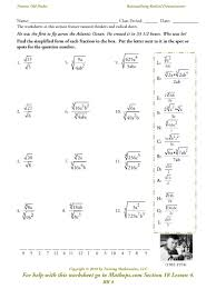 Rational Expression Worksheet Rr 4 Rationalizing Radical Denominators Mathops
